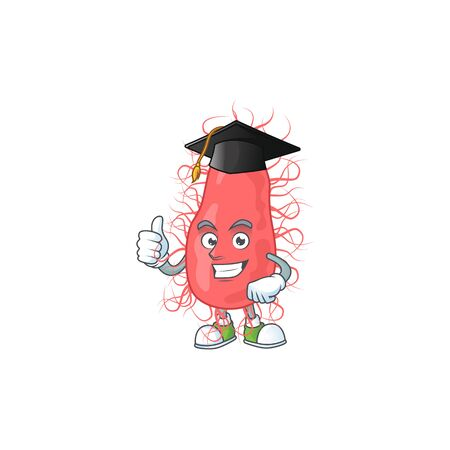 Mascot design concept of escherichia proudly wearing a black Graduation hat. Vector illustration