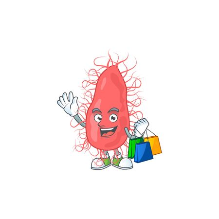 cartoon character concept of rich escherichia with shopping bags. Vector illustration Ilustrace