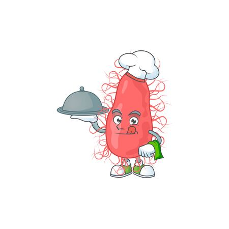 A escherichia chef cartoon design with hat and tray