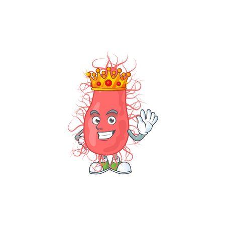The Charismatic King of escherichia cartoon character design wearing gold crown