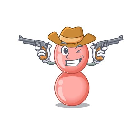 Cute handsome cowboy of neisseria gonorrhoeae cartoon character with guns. Vector illustration Illustration
