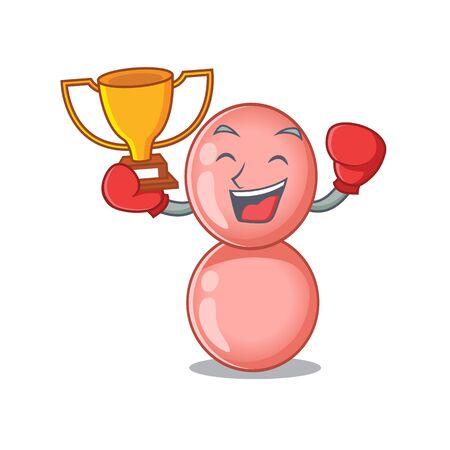 An elegant boxing winner of neisseria gonorrhoeae mascot design style Ilustração