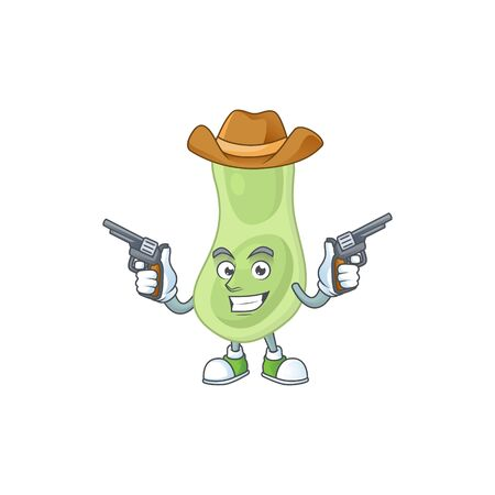 A cowboy cartoon character of staphylococcus pneumoniae holding guns