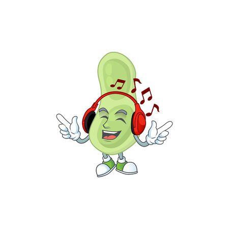 Cartoon mascot design staphylococcus pneumoniae enjoying music with headset