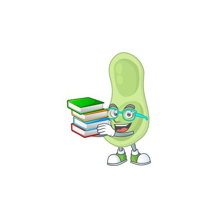 A mascot design of staphylococcus pneumoniae student character with book. illustration