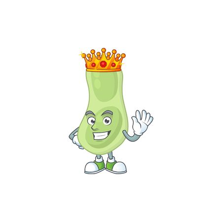 The Charismatic King of staphylococcus pneumoniae cartoon character design wearing gold crown. illustration