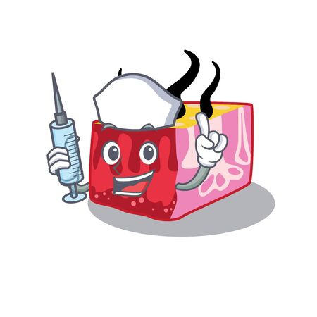 A nice nurse of skin mascot design concept with a syringe