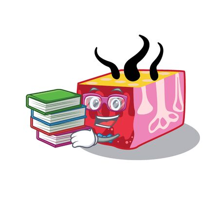 A diligent student in skin mascot design concept with books