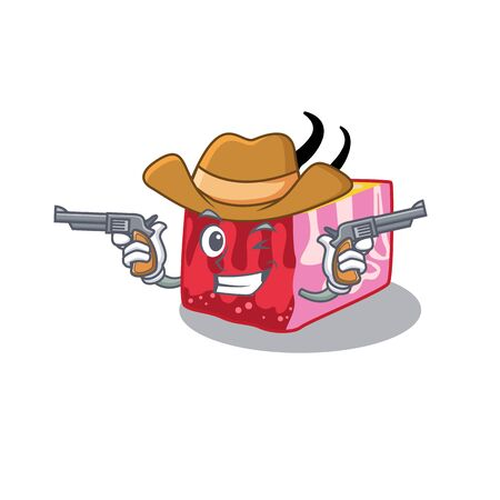 Cute handsome cowboy of skin cartoon character with guns. Vector illustration