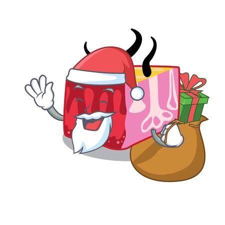 Cartoon design of skin Santa with Christmas gift. illustration