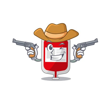 Cartoon character cowboy of blood plastic bag with guns
