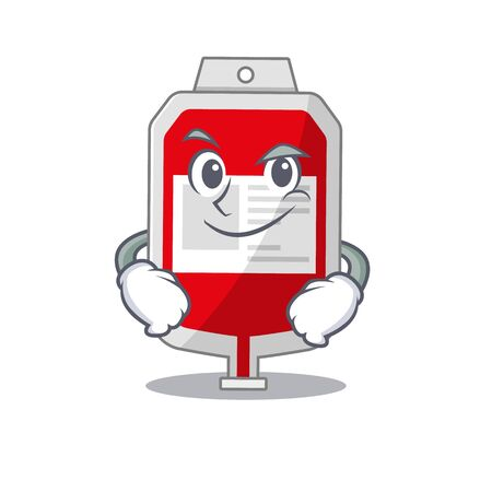 A cute arrogant caricature design of blood plastic bag having confident gesture