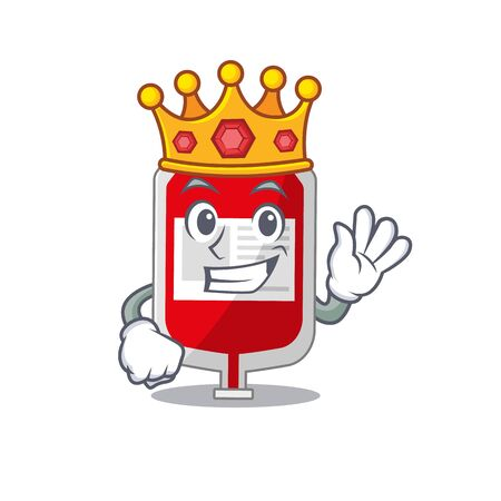 A Wise King of blood plastic bag mascot design style with gold crown