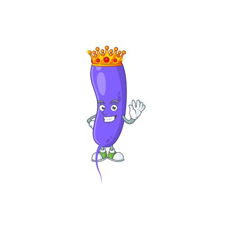 A charming King of cholerae cartoon character design with gold crown. Vector illustration