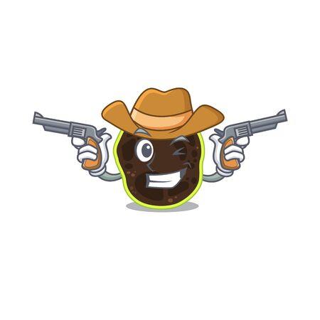 Cartoon character cowboy of firmicutes with guns Illustration