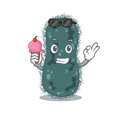 A cartoon drawing of thermotogae holding cone ice cream