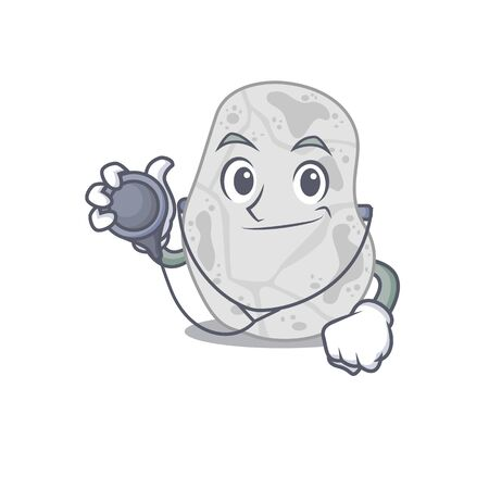 Smiley doctor cartoon character of white planctomycetes with tools