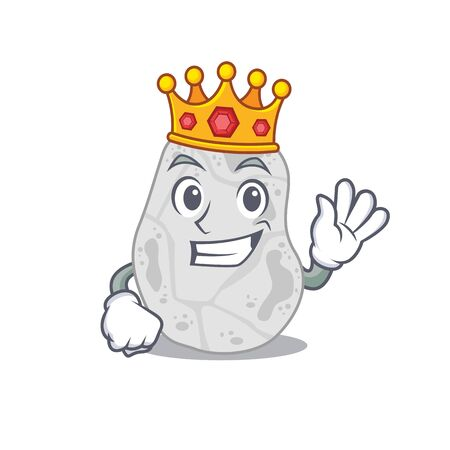 A Wise King of white planctomycetes mascot design style with gold crown