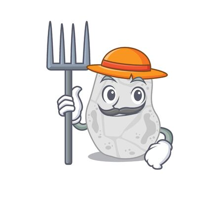 White planctomycetes mascot design working as a Farmer wearing a hat