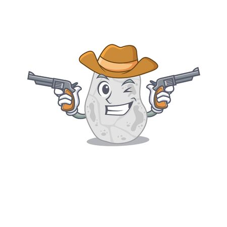 Cartoon character cowboy of white planctomycetes with guns