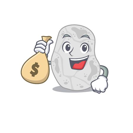 Crazy rich white planctomycetes mascot design having money bags