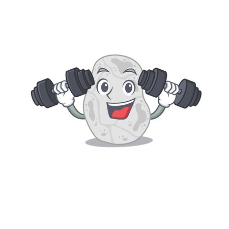 White planctomycetes mascot design feels happy lift up barbells during exercise