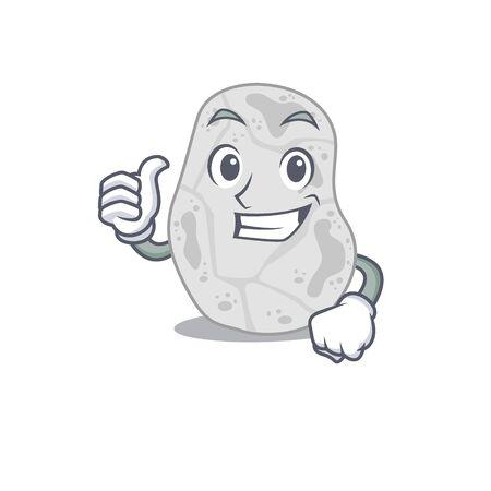 White planctomycetes cartoon character design showing OK finger