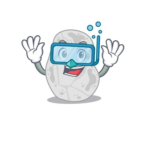 White planctomycetes mascot design swims with diving glasses Çizim