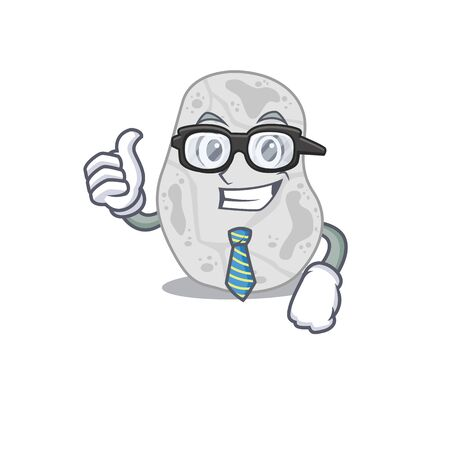 cartoon drawing of white planctomycetes Businessman wearing glasses and tie Çizim