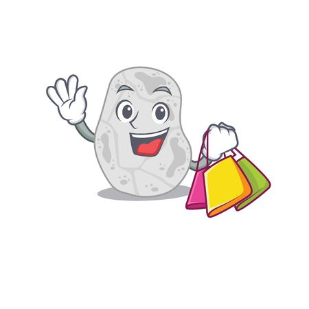 wealthy white planctomycetes cartoon character with shopping bags