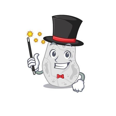 A gorgeous smart Magician of white planctomycetes cartoon design style
