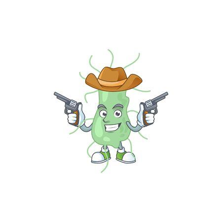 A masculine cowboy cartoon drawing of salmonella holding guns. Vector illustration Illustration