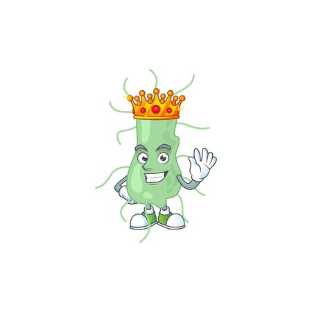 A charming King of salmonella cartoon character design with gold crown. Vector illustration Иллюстрация