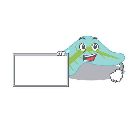 Cartoon character design of pancreas holding a board. illustration