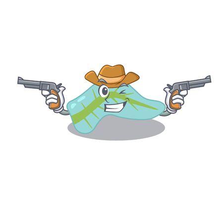 Cartoon character cowboy of pancreas with guns. illustration