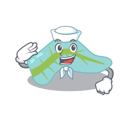 Smiley sailor cartoon character of pancreas wearing white hat and tie. Vector illustration