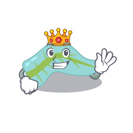 A Wise King of pancreas mascot design style with gold crown Иллюстрация
