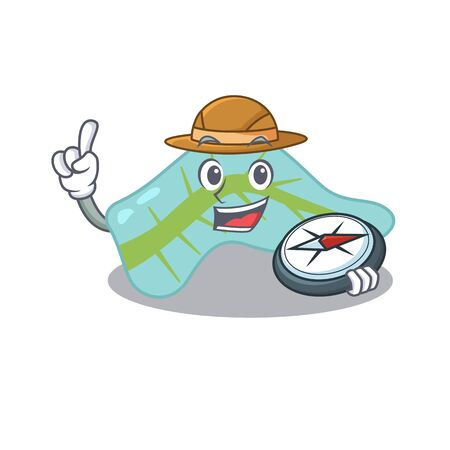 mascot design concept of pancreas explorer using a compass in the forest Stock Illustratie
