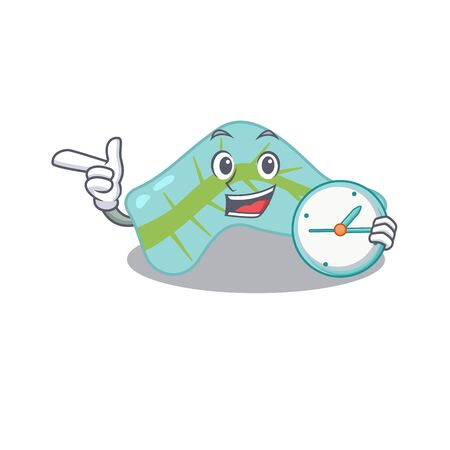 mascot design style of pancreas standing with holding a clock