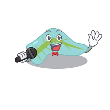 cartoon character of pancreas sing a song with a microphone