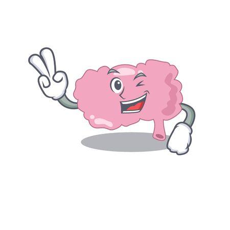 Happy brain cartoon design concept show two fingers
