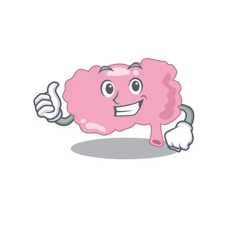 Brain cartoon character design showing OK finger