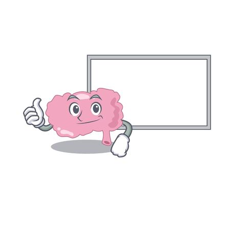Brain cartoon design with Thumbs up finger bring a white board