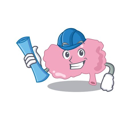 caricature picture of brain Architect with blue prints Иллюстрация