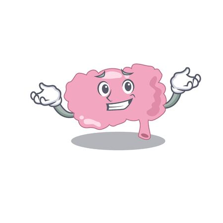 A cute picture of grinning brain caricature character. Vector illustration Ilustração