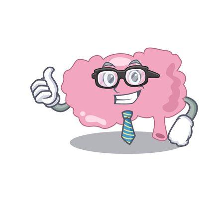 cartoon drawing of brain Businessman wearing glasses and tie Иллюстрация