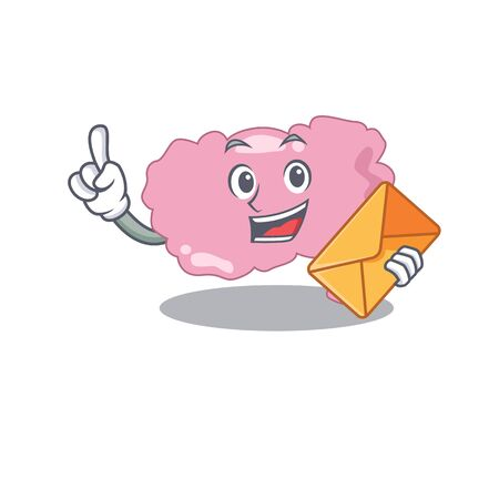 A picture of cheerful brain cartoon design with brown envelope