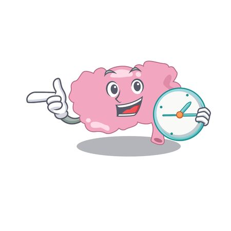 mascot design style of brain standing with holding a clock