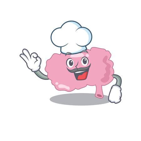 Talented brain chef cartoon drawing wearing chef hat