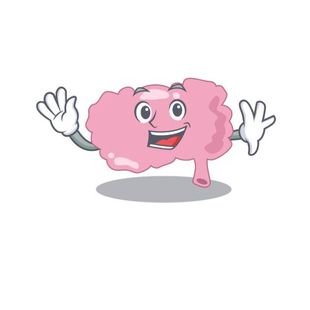 A charming brain mascot design style smiling and waving hand. Vector illustration